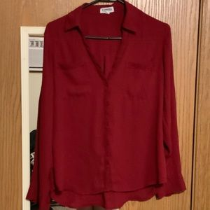 Express red size m dress shirt